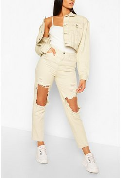Ecru white Lang denim distressed Mom Jeans