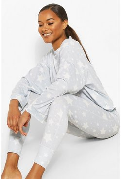 Grey Tall All Over Star Print Christmas Pyjama Set