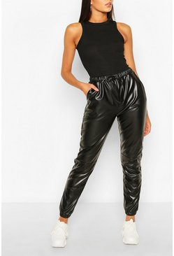 Black svart Tall Faux Leather Seam Joggers