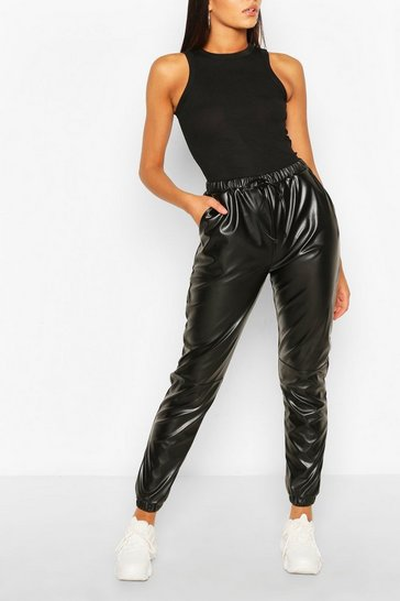 Black Tall Faux Leather Seam Joggers