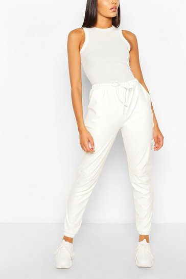Cream white White Tall Faux Leather Seam Joggers