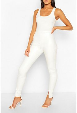 Cream white Tall Faux Leather Invisible Zip Leggings