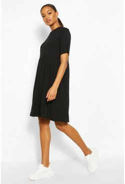 Black Tall Jersey Smock Dress