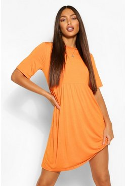 Orange Tall Jersey Smock Dress