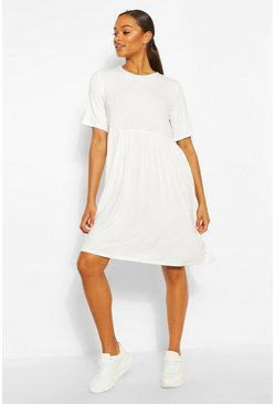 White Tall Jersey Smock Dress