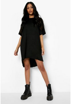 Black Tall Jersey Dipped Hem T-Shirt Dress