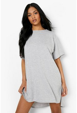 Grey marl grå Tall Jersey Dipped Hem T-Shirt Dress