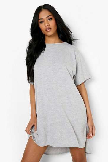 Grey marl grey Tall Jersey Dipped Hem T-Shirt Dress