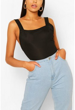 Black Tall Basic Rib Square Neck Low Back Bodysuit