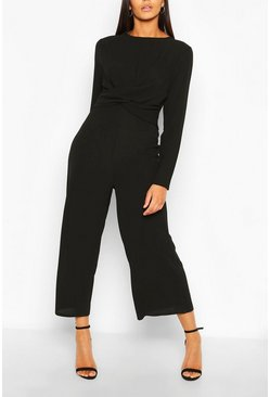 Black Tall Wrap Waist Culotte Jumpsuit