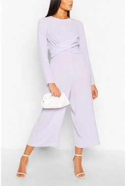 Lilac purple Tall Wrap Waist Culotte Jumpsuit