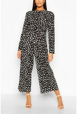 Black Tall Polka Dot Wrap Waist Culotte Jumpsuit