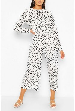 White Tall Polka Dot Wrap Waist Culotte Jumpsuit