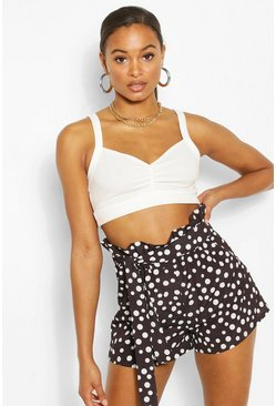 Black Tall Polka Dot Woven Paperbag Shorts