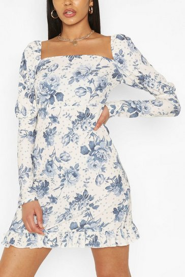Ivory white Tall Woven Spot Floral Print Puff Sleeve Dress