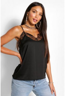 Black Tall Lace Trim Satin Cami Top
