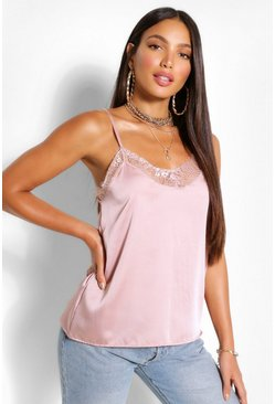 Blush pink Tall Lace Trim Satin Cami Top