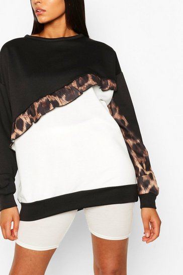 Black Tall Ruffle Leopard Colour Block Sweat