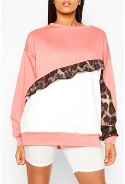 Coral Tall Ruffle Leopard Colour Block Sweat