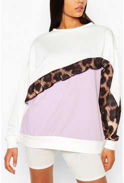 Lilac Tall Ruffle Leopard Colour Block Sweat