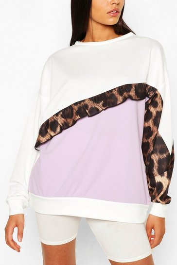 Lilac purple Purple Tall Ruffle Leopard Colour Block Sweat