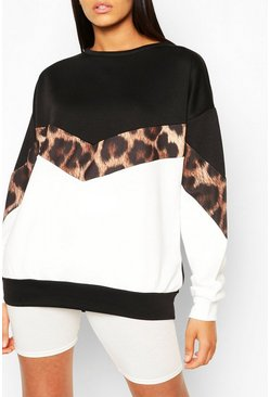 Black svart Tall Leopard Colour Block Sweat