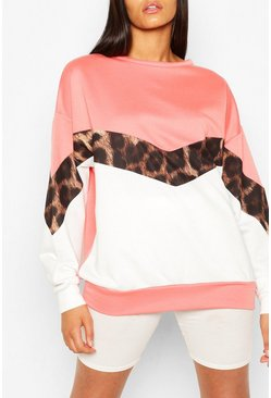 Coral pink Tall Leopard Colour Block Sweat