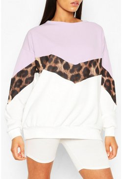Lilac purple Tall Leopard Colour Block Sweat