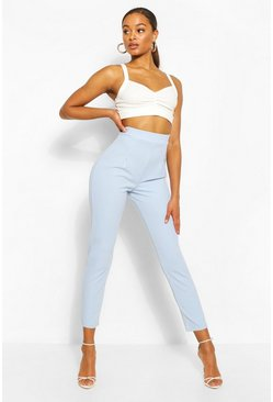 Blue Tall Tailored Cropped Trousers