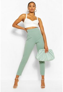 Sage green Tall Tailored Cropped Trousers