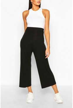Black Tall High Waist Basic Jersey Culottes
