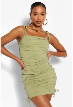 Sage green Tall Cotton Ruched Side Mini Dress
