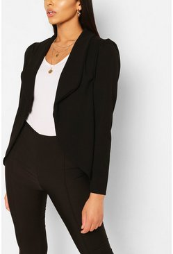 Black Tall Puff Shoulder Blazer