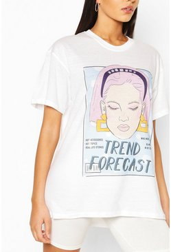 Wit white Lang T-shirt met 'Trend Forecast'