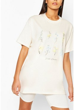 Yellow Tall Flower Slogan T-Shirt