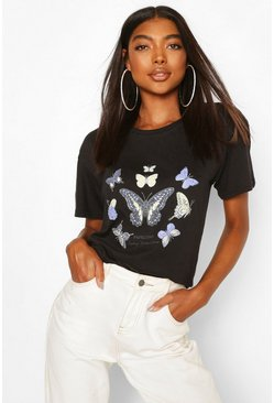 Black Tall Butterfly Slogan T-Shirt
