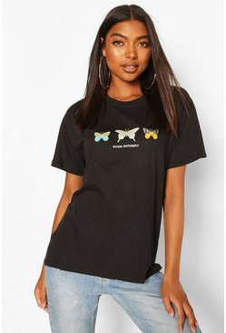 Black Tall Butterfly Graphic T-Shirt