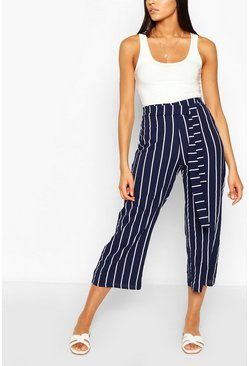 Navy Tall Belted Nautical Stripe Woven Culottes