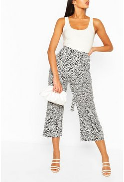 White Tall Leopard Belted Woven Culottes