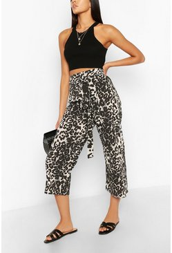 Brown Tall Leopard Belted Woven Culottes