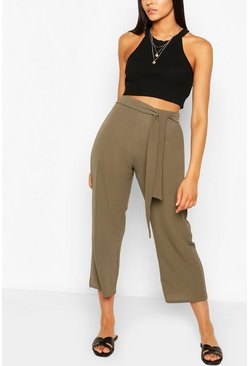 Khaki Tall Belted Woven Culottes
