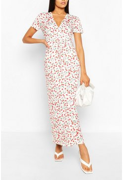 Ivory Tall Floral Print Lace Up Waist Midaxi Dress