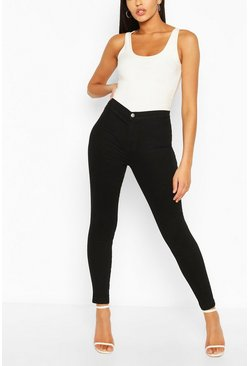 Black Tall Denim High Waisted Cropped Disco Jeans