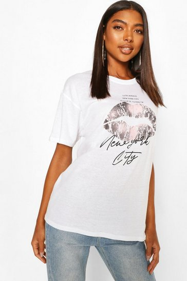 White Tall 'New York' Lips Oversized T-Shirt