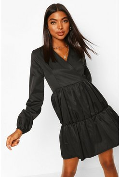 Black Tall Tiered Smock Dress