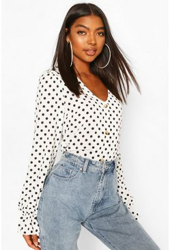 White Tall Woven Polka Dot V-Neck Blouse