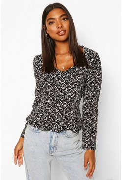 Black Tall Woven Ditsy Floral Sweetheart Neck Top