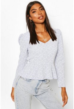 Blue Tall Woven Ditsy Floral Sweetheart Neck Top