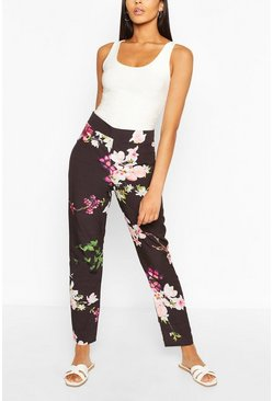 Black Tall Woven Floral Print Pants