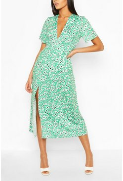 Green Tall Floral Midi Dress